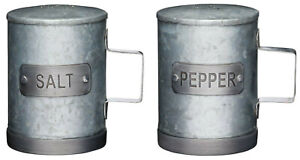Industrial Kitchen Large Rustic Galvansied Metal Salt & Pepper Shaker Pots Set