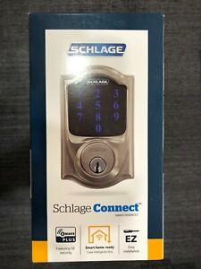 Schlage Camelot Satin Nickel Connect Smart Door Lock with Alarm Z Wave New