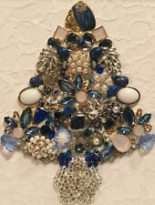 Vintage / Mod Rhinestone Jewelry Christmas Tree Framed Picture