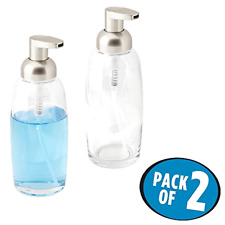 Foaming Glass Soap Dispenser Pump mDesign Pack of 2 Glass Clear and Satin 12 Oz