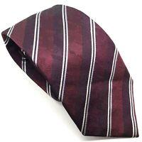 "Ben Sherman Men's Tie Burgundy Red Striped Designer 100% Silk 3"" Width 59"" Long"