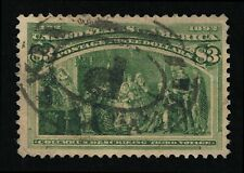 OUTSTANDING GENUINE SCOTT #243 USED 1893 YELLOW GREEN $3 COLUMBIAN EXPO #10343