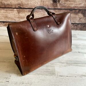 Satchel & Page 4 Way Diplomat Brown Leather Classic Briefcase Backpack Bag Italy