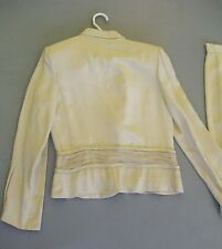 Melange Couture Cream Beaded Jacket w/ Skirt; Size 7-8; 2 Piece Set; Suit Sample
