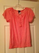 Inc. New Pink Burnout Smocked Short Sleeves Casual Shirt Top S