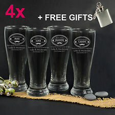 4x Personalised Favours Engraved Beer Glasses for Groomsmen - Best Man Gifts