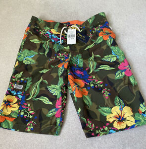 BNWT Ralph Lauren Polo Boys Kailua Green Floral Camo Swim Trunks Size XL (18-20)