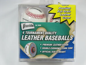 "Franklin Official League Baseballs 4Pk 9"" 5oz Leather Cover #1544 Cork Core NIP"