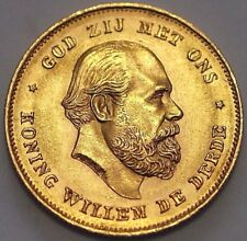 1875 Netherlands Gold Coin 10 Gulden William III KM# 105 A*10