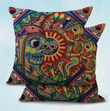 Us Seller-2Pcs throw pillowcase for couch Mexican Huichol yarn painting