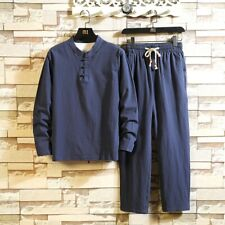 Mens Chinese style Tang suit Long sleeve Pants Linen Shirts Tops Summer Pullover