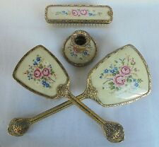 Dressing Table Set - Filigree & Petit Point , Mirror , Two Brushes , Candlestick