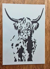 Shabby Chic full Highland Cow cattle A3 Stencil Vintage 420x297mm wall art paint