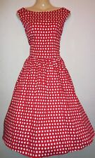 NEW LINDY BOP FIFTIES STYLE AUDREY RED POLKA DOT DRESS SIZE 12 LINED