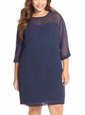JUNAROSE Womens's Dress Sz 12 Frenja Dotted Navy Chiffon Sheath Shift 3/4 Sleeve