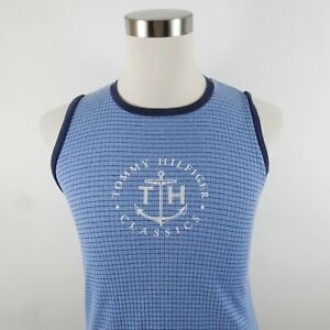 Tommy Hilfiger Mens Cotton Crew Neck Light Blue Checkered Tank Top Medium