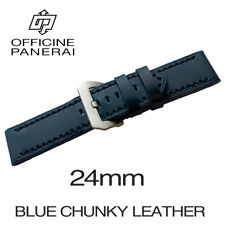 • 24mm Blue Chunky Leather Bracelet / Strap With Buckle For Officine Panerai •