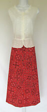 VTG 1970s SKIRT & TOP RED WHITE BLACK FLORAL EMBROIDERY CUTOUTS ABSTRACT