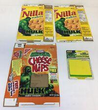 lot of 3 INCREDIBLE HULK boxes+card~Nilla Wafers,Cheese Nips,Cake Decoration
