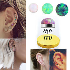 1-4PC Magnetic Illusion No Piercing Studs 4 Colors Synthetic Round Opal Earrings