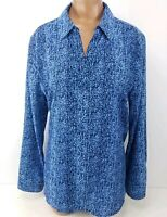 Chicos Blouse Blue Long Sleeve V Top Neck Flowy Shirt Womens Size 1 / Medium M