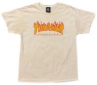 Thrasher Skateboard Magazine Adult L T Shirt White Flames Fire Logo Skater Tee