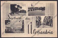 ALESSANDRIA CITTÀ 153 SALUTI da... VEDUTINE Cartolina viaggiata 1951