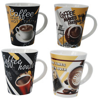 Set of 4 LARGE Coffee Mugs Porcelain Coffee Cups 340ml Flared Design 01