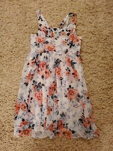 NWT Torrid White Pink Floral Crinkled Chiffon Tank Sun Dress Size 2 18/20 NEW