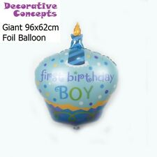 1st Compleanno Gigante Palloncino blu Torta Di Compleanno Cupcake a Forma di Elio Foil Balloon