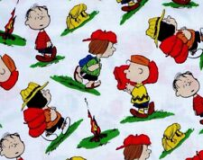 CAMP PEANUTS FABRIC CHARLIE BROWN LINUS PATTY QUILTING TREASURES COTTON  YARDAGE