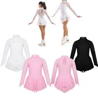 GIRLS FLORAL LACE ICE SKATING DRESS BALLET TURTLE NECK & KEYHOLE BACK COSTUME