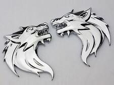 2 Stück 3D Metall Wolf Wolfkopf Chrom Logo Sticker Emblem Aufkleber PKW KFZ Auto
