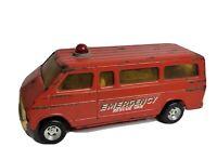 """Vintage Ertl Dodge Emergency Rescue Fire Van 1970's  Pressed Steel 11"""" Rough"""