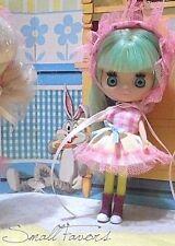 "Petite Blythe OOAK Gingham dress and hat set Pink LPS Little Pet Shop 4"" doll"