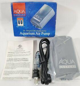 Aqua Culture Aquarium Air Pump MK-1504 20-60 Gallon Double Outlet 2 Check Valves