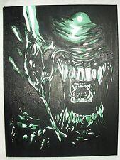 Canvas Painting Alien Movie Face Teeth Green Art 16x12 inch Acrylic