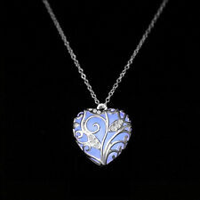 Fashion Magical Fairy Glow in The Dark Pendant Locket Heart Luminous Necklace PB Purple