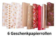 Natur Pack Papier 2m x 0,70m 10 Rollen Bedrucktes Packpapier Kraft Look