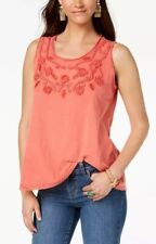 Style & Co Cotton Soutache Trim Tank Plus Top 1X Red