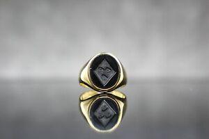 wunderbarer Siegelring Heraldik Wappen Onyx Herrenring Damenring 750 Gold