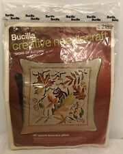"""Bucilla Embroidery Pillow Kit #2189 """"Signs of Autumn� Vintage *New/Sealed*"""