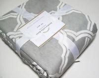 Pottery Barn Multi Color Gray Kendra Trellis Cotton Linen Full Queen Duvet Cover