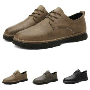 39-44 Mens Round Toe Leisure Faux Leather Shoes Work Office Oxfords Lace Up