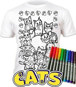 Splat Planet Colour-in Cats T-Shirt with 10 Non-Toxic Washable Magic Pens