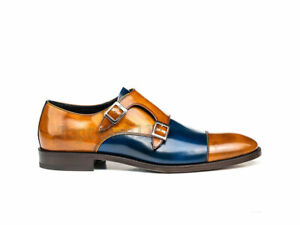 Handmade Men's Leather Two Tone Patina Tan Blue Double Monk custom shoes-861