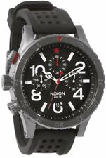 Nixon 48-20 Chrono P Gunmetal Black Red Men's Watch A2781426 Rubber Band
