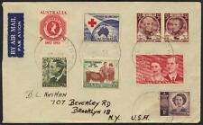 AUSTRALIA 1954 MULTIFRANKED AIR MAIL CVR TO BROOKLYN NY