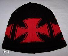 Chopper Cross Black / Red Warm Beanie New Aust Made