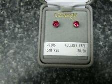 Concepts Non-Allergic Gold-Plated Stainless Steel 5mm Red Round CZ Earrings